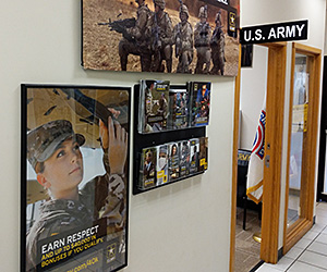 An Army Recruitment office shown with wall mount brochure holders