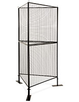 Black 3-sided wire grid art display rack with iron construction