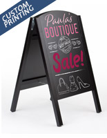 18 x 26 black folding chalkboard easel with custom printed graphic