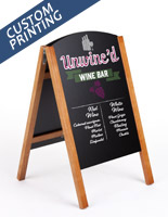18 x 26 teak wooden custom easel chalkboard with digital printing