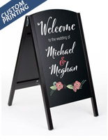21 x 34 black double-sided custom chalkboard sign with digital printing