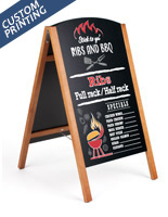 21 x 34 teak UV digitally printed chalkboard easel with custom graphic