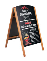 Wood A-frame sidewalk sign with chalkboard writing surface