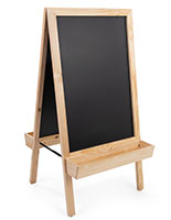 Chalkboard sidewalk sign with planter bottom features magnetic menu board