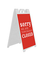 Temporarily closed a-frame sign