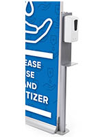 Automatic hand sanitizer banner stand with floor standing placement style