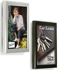 These aluminum photo displays are offered in many sizes in both black and silver.