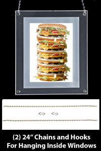 Suction Cup or Wall Mount Chain Hanging Displays2go Edge Lit Menu Holder APFL1185KT