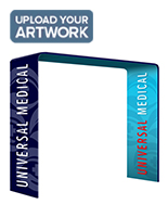 Custom square trade show booth arch with full color artwork