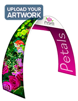 Personalized oval trade show archway with full color artwork