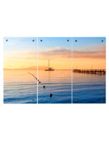 Ocean Sunset Triptych with 3 Panel Design