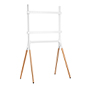 White with oak modern sawhorse-style TV display stand