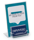 Acrylic Business Card Display with Sign Holder Slanted