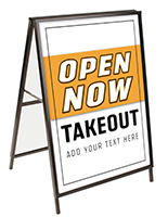 Open for Takeout A-frame sign with customizable text field