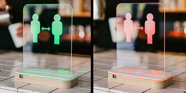 AuraAware motion-sensor warning device for safe social distancing