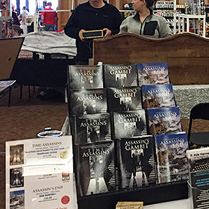 Books displayed on an author table