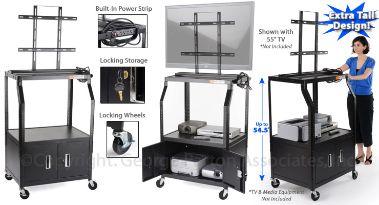 """Rolling TV Cart with Extra Tall Design to Hold up to a 55"""" Flat Panel"""