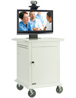 Video Conferencing Cart with Locking Front Door