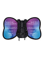 Custom wing-shaped backpack banner advertising
