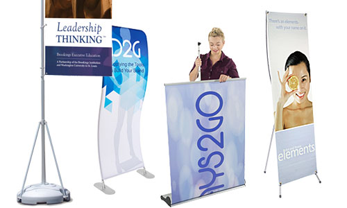 Group of banner stands for trade show applications