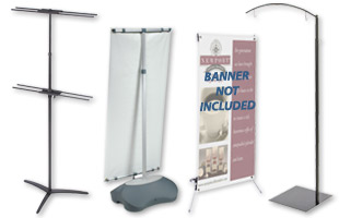 Use these display banner stands along with your custom graphics.