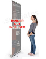Use these telescoping banner stands along with your own printed graphics for an effective trade show exhibit.
