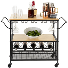 Bar and serving carts with wheels