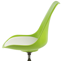 Closeup of a Molded Green Plastic Pub Chair Seat