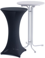 cocktail table with black stretch tablecloth