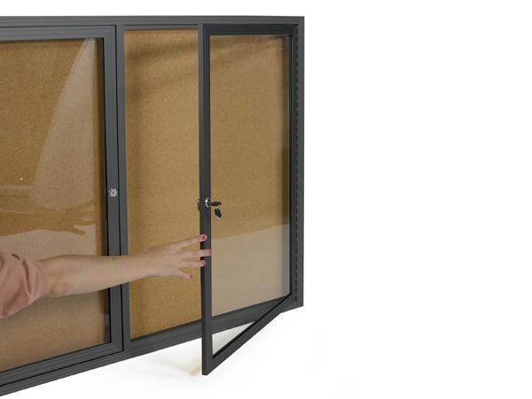 Large Bulletin Board Swing Open Dual Doors Black