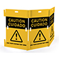 Interlocking caution barricade with pre-printed yellow graphics