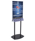 "Double-Sided Poster Stand with Business Card Slots and 22"" x 28"" Sign Holder"