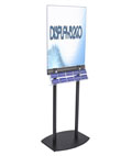 Double Sided Black Poster Stand with Business Card Rack