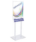 Clear Poster Stand with Business Card Pockets Made of Acrylic