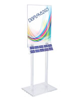 Floor Standing Clear Poster Stand with Business Card Pockets