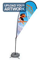 78 inches tall teardrop LED banner flag replacement artwork