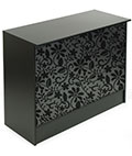"Retail Cash Wrap: 48"" Wide Low Style - Black Melamine with Floral Graphic Panel"