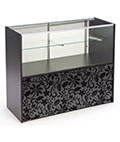 Showcase Includes Base Cabinet for Additional Storage & Floral Lace Graphic