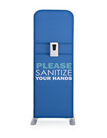 Please sanitize your hands pre-printed banner with sanitizer dispenser