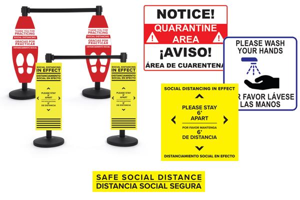 Bilingual social distancing signage