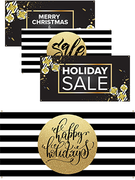 black and gold holiday advertising signage and displays