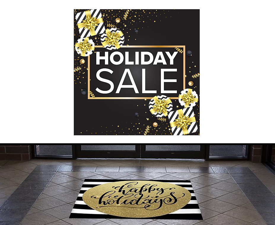 Black and gold holiday floor decals