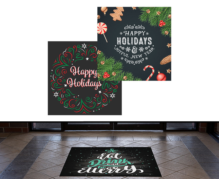 chalkboard themed window clings and floor decals