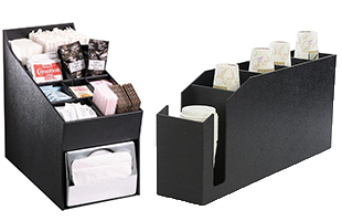 Black plastic condiment and cup caddies