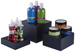 black countertop display risers