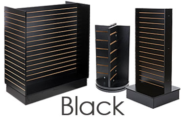 Black Slatted Merchandising Fixtures