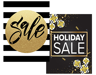black and gold holiday advertising signage and poster multipacks