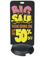 24 x 47 Black Wet-Erase Sidewalk Sign with Markers