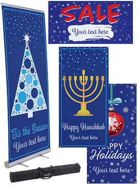 blue holiday themed advertising banners