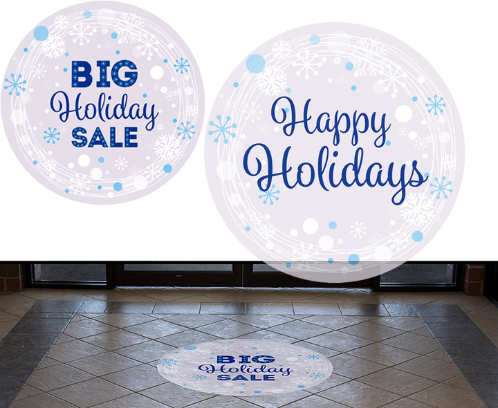 blue holiday themed window clings and floor stickers